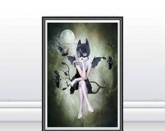 Bat Girl Art Print - Bat Girl & Bats - Pop Surrealism Art Print - Lowbrow Art - A3 Art Print - Moonlighting