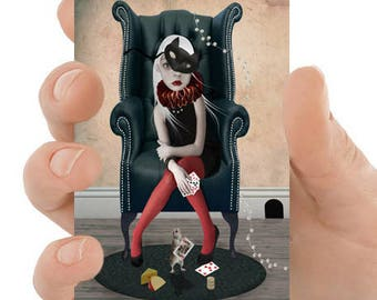 Pop Surrealism Art - ACEO Art Card - Girl And Mouse  - Miniature Art Card - Winer Takes All