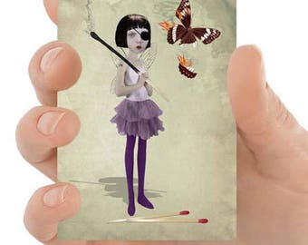 Fantasy ACEO Card - Fairy & Matchstick - ACEO Art Card - Fantasy Art - Fairy Art Card - Playing With Fire