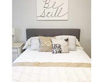 Be Still - Hand painted Canvas - bedroom painting decor home house dwell wall hanging decoration black white paint art work artwork