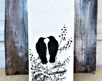 Birds in Love Painting,Black & White Art,Best Friend Art,Blackbird Art,Bird Painting,Crows,Wedding Gift,Lovebirds,Friendship Art