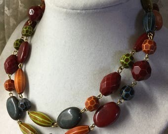 Multi Textured Shaped Lucite Resin Beaded Single Strand Chain Unsigned 1990's 1980's Eclectic Boho Bohemian Mix Feminine Multi Coloured