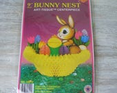 "Vintage Beistle 9"" Easter Bunny Rabbit Honeycomb Basket with Eggs Die Cut Out NOS 1973"