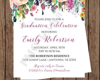 Custom Printed | Watercolor Rose Floral Girl Graduation Celebration Invitation | Beautiful Watercolor Roses Flowers Floral | 1.00 each