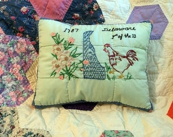 Repurposed Quilt Block Pillow, Delaware State Pillow, Handmade from Vintage Quilt, Rustic Farmhouse Cottage Decor, One of a Kind Pillow