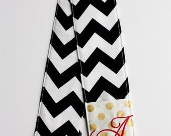 Camera Strap Cover- lens cap pocket and padding included- Monogrammed Gold Dot/ Black Chevron