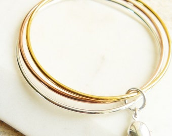 Triple Bangle with Locket, Mixed Metal Bracelet, Simple Bangle, Sterling Silver Bracelet