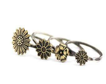Hipster Ring, Flower Ring, Boho Ring, Gold Flower Stack Ring, Antiqued Stack Ring, Hammered Ring, Fall Ring, Sterling Silver, Sunflower Ring