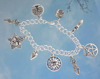 Pagan Wiccan Goddess Charm Bracelet or Anklet- goddess, green man, sun, moon, pentagram, tree of life- silver plated chain- free shipping