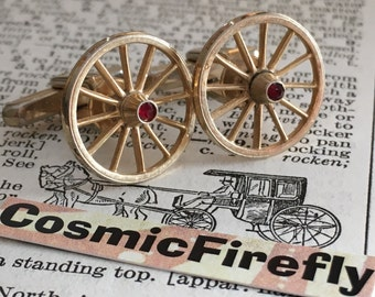 Men's Vintage Cufflinks Antique Gold Plated Carriage Wheels Wagon Wheels Cufflinks Made In USA HICKOK Brand Cufflinks Steampunk Cufflinks