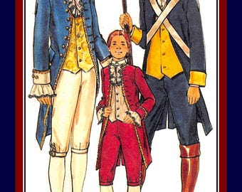 Vintage 1976-Noble Statesman-Blue Coat Military Man-Historical Sewing Pattern-Jacket-Knickers-Vest-Bandoleer-Dickey- Uncut-Size 38-Rare