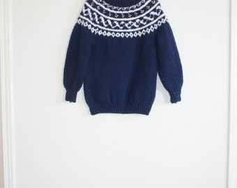 Vintage Navy and White Sweater