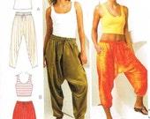 Sewing Pattern Harem Pants Tank Top Drop Crotch Kwik Sew 3701 Misses Baggy Loose Fitting Trousers Size XS S M L XL Uncut Factory Folded