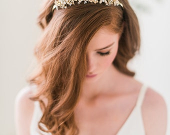 Gold quartz tiara, gold headpiece, bridal headpiece, quartz headpiece - Style 3105 - FREE SHIPPING*
