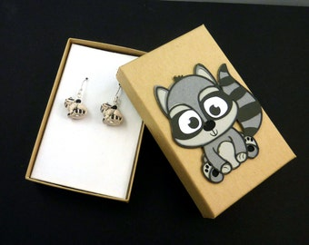 Handmade Raccoon Earrings.  With Hand Decorated Box.   STERLING SILVER ear wire and Resin Raccoon Bead.