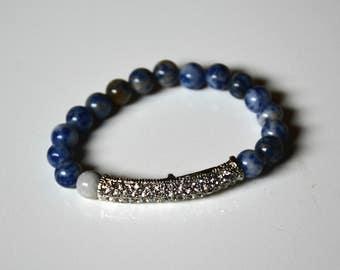 Beaded Bracelet, Crystal Bracelet, Blue Glass Bead Bracelet, Stacking Bracelet, Arm Candy, Layering Jewelry, Blue Bracelet, gifts under 15