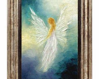 Angel Print, Angel Art Print, Angel, Angel Print Framed, Guardian Angel, Wall Decor, Home Decor, Spiritual Gift
