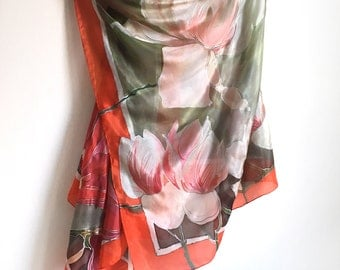 Hand painted silk scarf- Lagoon Magnolias/ Gray green scarf painted/ Long floral shawl, Silk painting, Magnolia shawl, Unique handmade gift