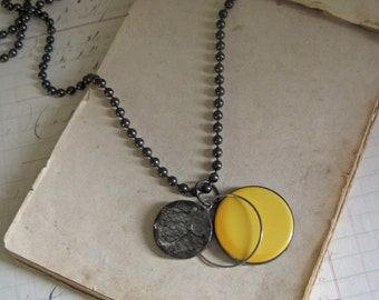 Black Lace, Bakelite Disc, Repurposed Necklace One of a Kind Jewelry