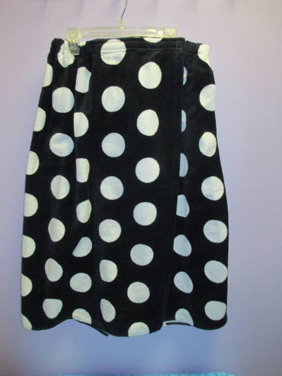Spa Wrap Personalized Embroidered Womens Black Polka Dot Towel Wrap