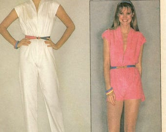 Vintage 80s McCalls 7027 UNCUT Misses Plunging Neckline Jumpsuit and Romper Sewing Pattern Size Small Bust 32.5-34