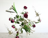 Vintage Tole Chandelier with Roses / 5 Arm / Cottage Chic Decor