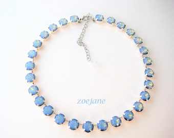 Blue Opal Swarovski Crystal Necklace, 47ss Crystal Rhinestones, Tennis Style, Anna Wintour Inspired, Big Stones Layering Necklace, Wedding
