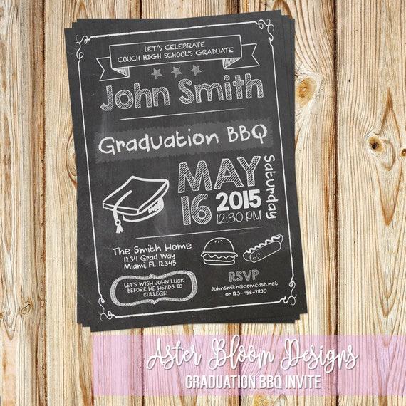 graduation bbq invite chalkboard graduation invitation grad