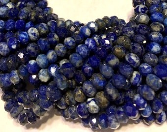 Lapis faceted rondelles Medium size