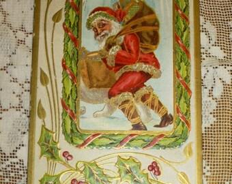 Antique Christmas Post Card Postcard A Merry Christmas Santa Bag of Toys