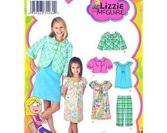 Girls Sewing Pattern Jacket Dress Top Capri Pants Simplicity 3513 Raglan Sleeve Dress Smock Jacket Collar Lizzie McGuire Size 7 to 14 UNCUT