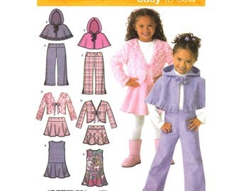 Girls Sewing Pattern Jumper Skirt Pants Jacket Poncho Simplicity 4384 Hooded Capelet Size 3 to 8