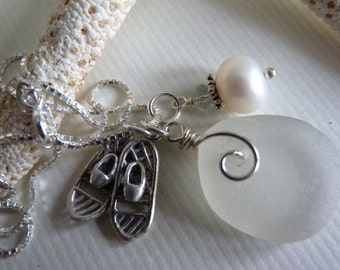White Sea Glass Necklace Snowshoes Charm and Sterling Chain - SNOWY HIKE