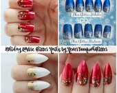 Holiday Glitter Ombre Nails, Ombre Glitter Stiletto, Color Choice Holiday Press On Nails, False Nails, Stiletto, Acrylic Nail, Glitter Nails