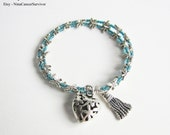 NEW YEAR CLEARANCE New Blue Glass Dragonfly Beaded - Dangling Puffed Dragonfly Heart and Tassel - Memory Wire Bracelet