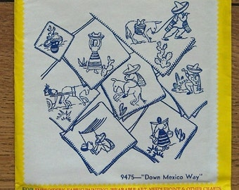 vintage aunt Martha's iron on transfers 9475 Down Mexico Way new unused