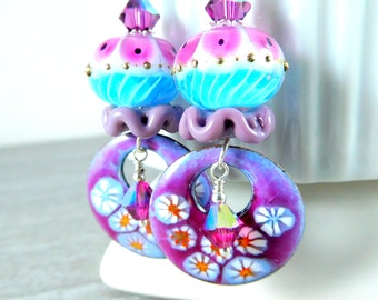 Pink Blue Purple Floral Enamel Dangle Earrings, Ruffle Glass Bead & Enameled Copper Earrings, Lampwork Earrings, Pastel Spring Jewelry Boho