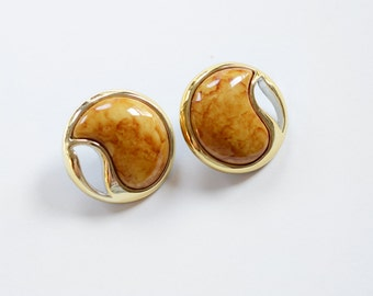 Faux Gold and Marble 80s Lightweight Plastic Clip-on Earrings