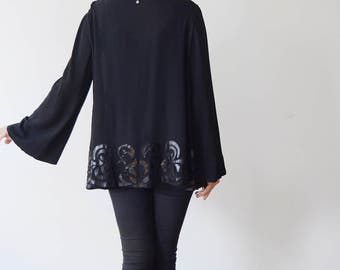 30s/40s Black Rayon Jacket with Art Nouveau Appliqué - S/M/L