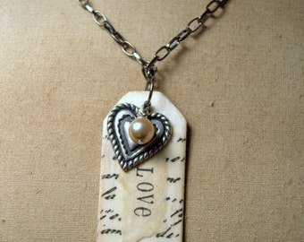 Love Collage Necklace * jewelry * heart * pendant