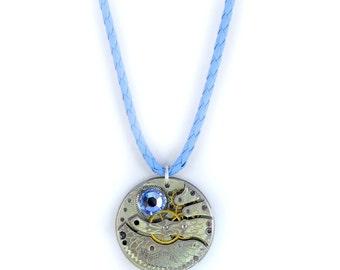 Steampunk Antique 1912 Hampden Watch Movement N Blue Leather Necklace