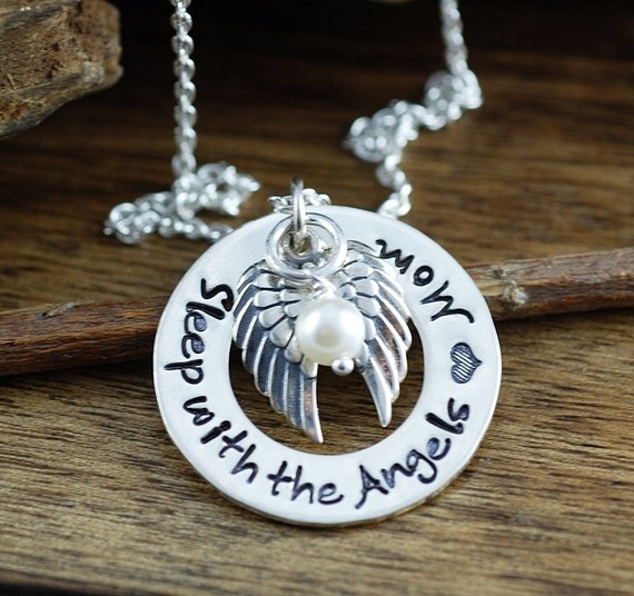 Personalized Memorial Necklace, Sleep with the Angels, Hand Stamped Jewelry, Loss of Mom Necklace, Personalized Necklace, Keepsake Necklace