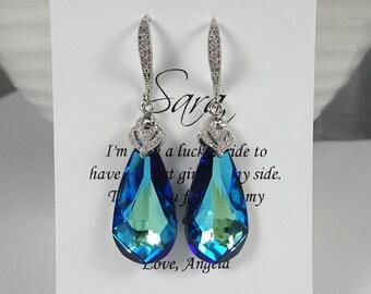 Swarovski Bermuda Blue Earrings, Bridesmaid Earrings, Bridesmaid Gift Earrings, Something Blue, Dark Blue Wedding Earrings, Gift for Her