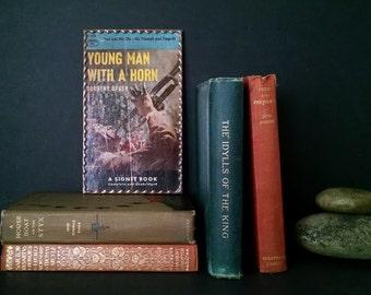 Vintage Book Cover Art Leaded Glass Frame Shelf Decor
