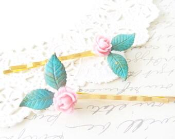 Ruffled Rose Leaf Hair Pins - Verdigris Leaf Bobby Pins - Minty Blue Leaf Hair Pins - Pink Rose Hair Pin Set - Woodland Leaf Hair Pins
