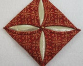 Cathedral Window Red and Gold Quilted Christmas Ornament 402