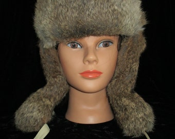 Natural Rabbit Fur Hat with Ear Flaps ~ Mad Bomber / Trapper Hat Style Men's or Women's Lined
