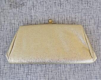 60s gold lamé clutch, vintage prom purse, 1960s bridal handbag