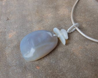 Opal potch pendant in grey pale blue white - unique Australian jewelry - large natural stone necklace - one of a king ooak