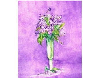 Passion For Purple ,  Foral Note  Cards , Original Art Note Cards
